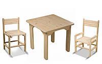 Детский стол и 2 стульчика, сосновый, фото 1
