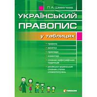 Український правопис у таблицях. Шевєлева Л.А