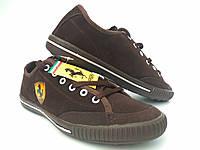 Обувь спортивная мужская кожаная Ferrari коричневые