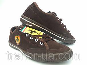 Взуття спортивне чоловіче шкіряне Ferrari коричневі