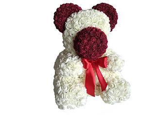 Мишка из латексных роз молочный с бордовым