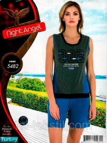 Пижама майка с шортами качество лайкра Night Аngel № 5482, фото 2