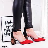 234b367e Туфли женские черные красные замшевые с ремешком на среднем каблуке,толстом,