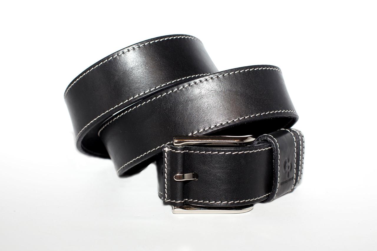 Кожаный ремень 04  Calvin чёрный прошитый