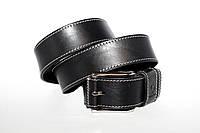 Кожаный ремень 04  Calvin чёрный прошитый , фото 1