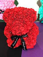 Красный мишка из 3d роз 25см 5 цветов скидка при заказе от 2 шт.