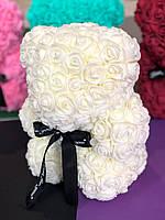 Кремово-белый мишка из 3d роз 25см 6 цветов