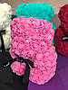 Розовый мишка из 3d роз 25см 6 цветов, скидка при заказе от 2шт !