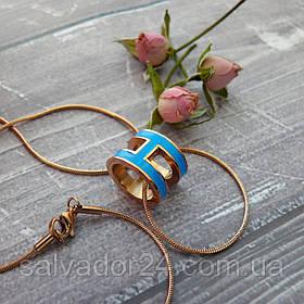 Женский кулон подвеска Hermes (реплика) на цепочке 48 см розовое золото, голубая ювелирная эмаль