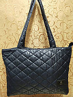 Женские сумка стеганная  логотип (темно синий) 30*46