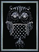 """Набор для картины """" Сова"""" своими руками из кристаллов и страз Сваровски"""