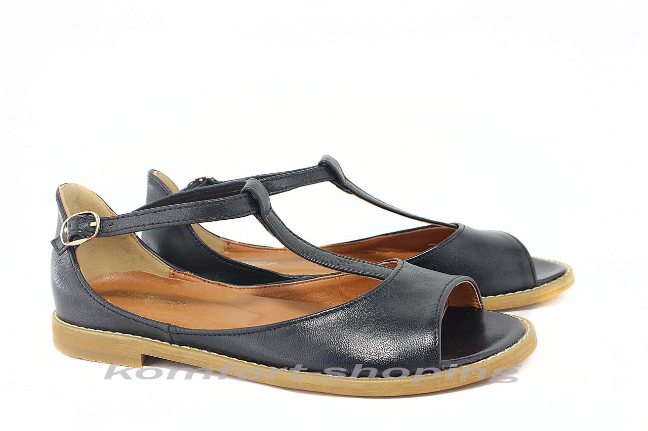 Женские босоножки кожаные,черные V 922