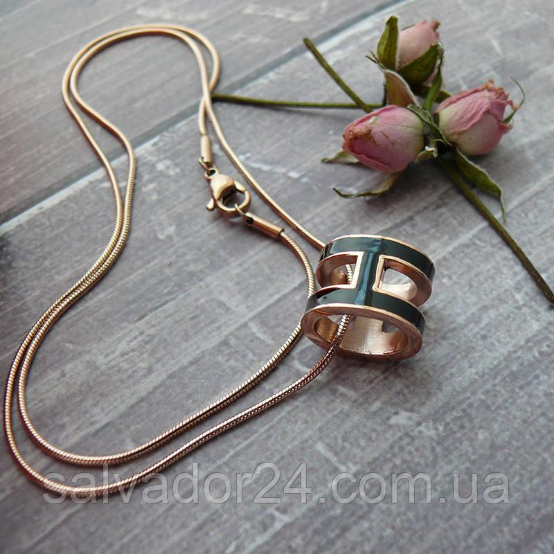 Женский кулон подвеска Hermes (реплика) на цепочке 48 см розовое золото, черная ювелирная эмаль