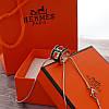 Женский кулон подвеска Hermes (реплика) на цепочке 48 см розовое золото, черная ювелирная эмаль, фото 3