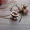Женский кулон подвеска Hermes (реплика) на цепочке 48 см розовое золото, черная ювелирная эмаль, фото 4
