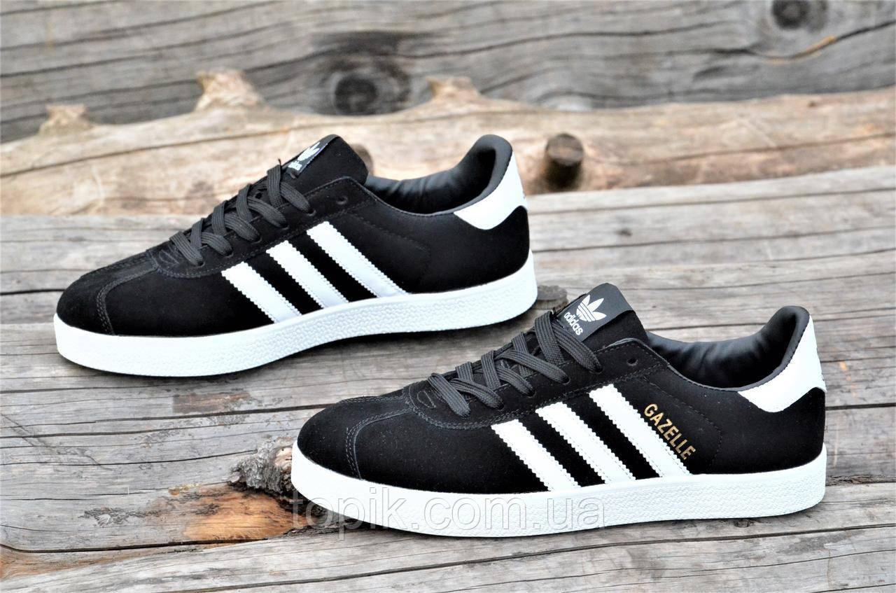 Модные мужские кроссовки, кеды реплика Adidas GAZELLE натуральная замша черные удобные  (Код: 1327а)