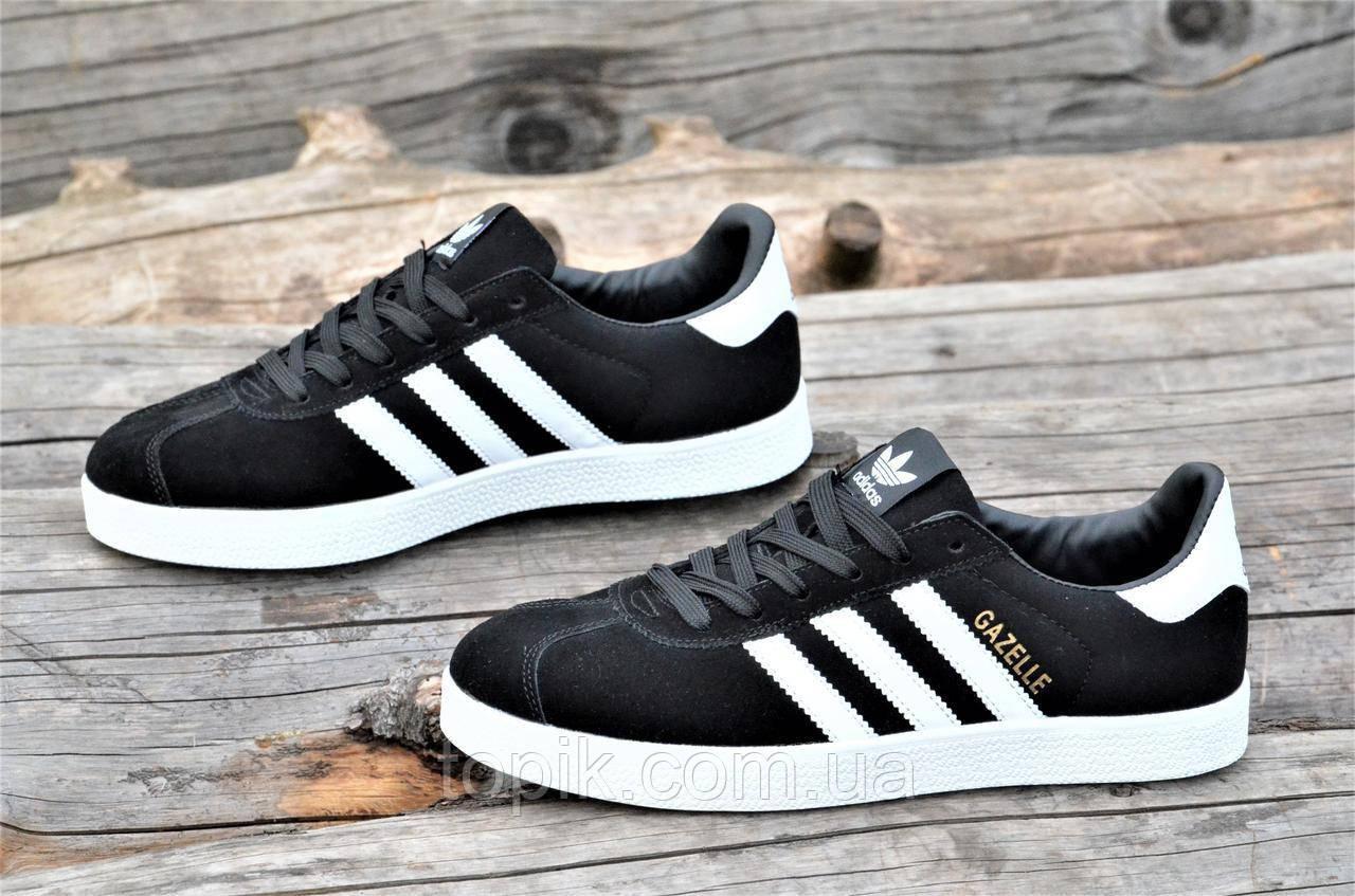 Подростковые, унисекс, женские кроссовки, кеды реплика Adidas GAZELLE натуральная замша черные (Код: 1328а)