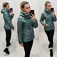 Женская куртка короткая демисезонная плащевка лак силикон 150 на молнии с  воротником размер 42 67c9d43f58118