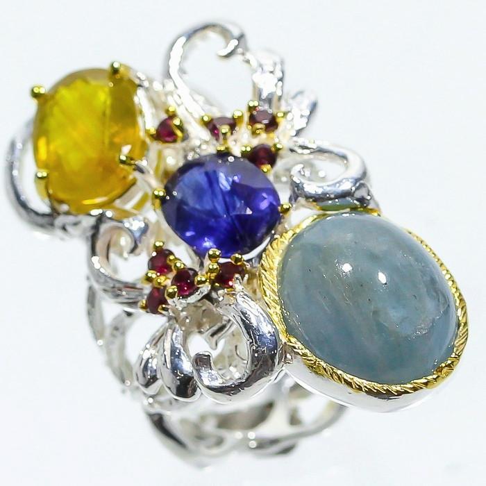 Кольцо ручной работы с Аквамарином, Кианитом, желтым Сапфиром и Гранатами родолитами