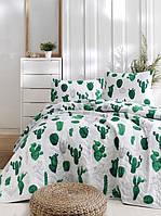 Покрывало стеганное с наволочками 160*220 Eponj Home Kaktus yesil зелёный полуторного размера