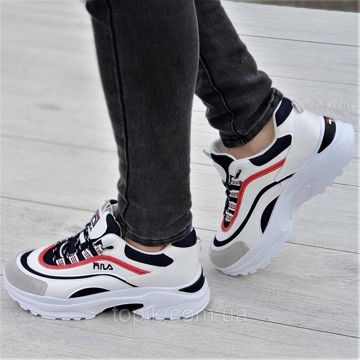 Очень модные женские кроссовки белые с темно синими и красными вставками мягкие и удобные (Код: 1331а)