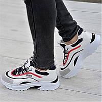 Очень модные женские кроссовки белые с темно синими и красными вставками мягкие и удобные (Код: 1331а), фото 1
