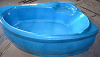 Ванна акрилова КМТ Азур 150 X 100 5мм права з ніжками та панелькою Голуба з перламутровим ефектом