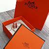 Женский кулон подвеска Hermes (реплика) на цепочке 48 см розовое золото, красная ювелирная эмаль, фото 3