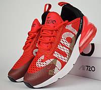 Женские кроссовки в стиле Nike Air Max 270 Supreme красные. Живое фото, фото 1