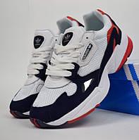 Женские кроссовки Adidas Falcon white blue. Живое фото (Топ реплика ААА+), фото 1
