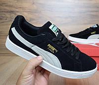 Мужские кроссовки Puma Suede Classic черные с белым. Живое фото. (Реплика  ААА+ 9a04eaa5258fc