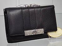 Кошелек женский кожаный черный гаманець жіночий шкіряний чорний prensiti 9282