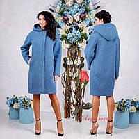 Демисезонное пальто с капюшоном  F  77981 Голубой  Тон 45, фото 1