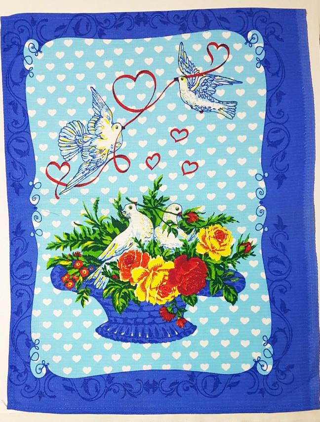 "Вафельное полотенце ""Голуби"" 46*60"