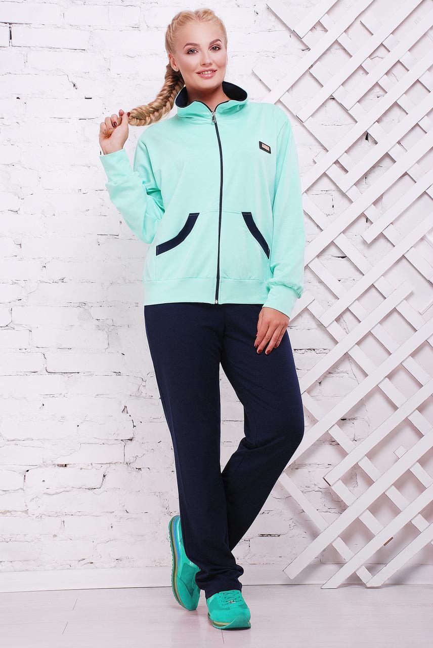 5af222a6547 Весенний спортивный костюм женский Батал 52-60 темно синий-мята ...