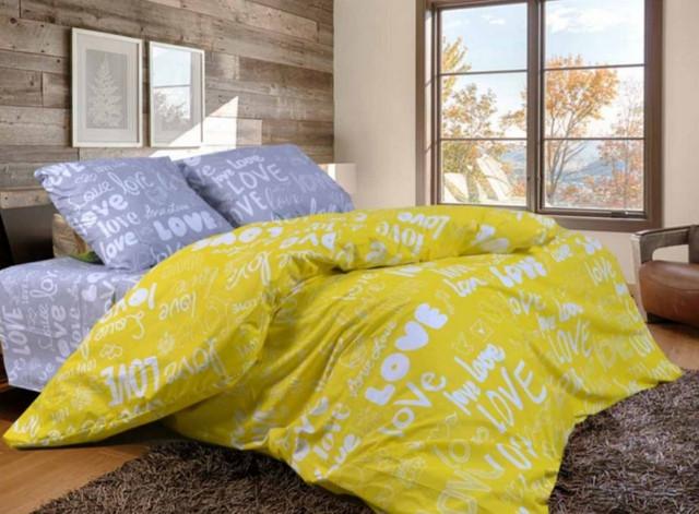 фотография семейный комплект постельного белья желтого цвета