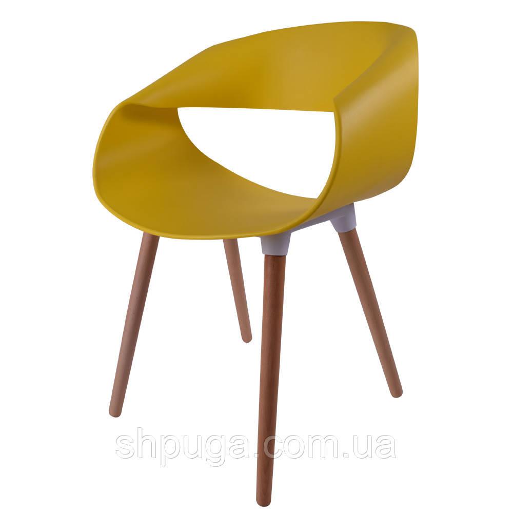 Стул Берта, пластик, ножки дерево бук, цвет желтый