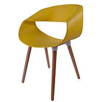 Стул Берта, пластик, ножки дерево бук, цвет желтый, фото 1