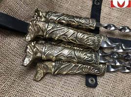 """Шампура подарункові """"Вірний друг"""" в сагайдаку з натуральної шкіри, 6шт"""