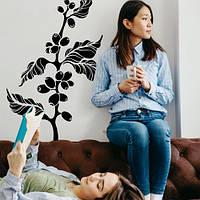 Виниловая интерьерная наклейка на кухню Ветка кофейного дерева (кофе, кава, кофейные зерна, стикер)