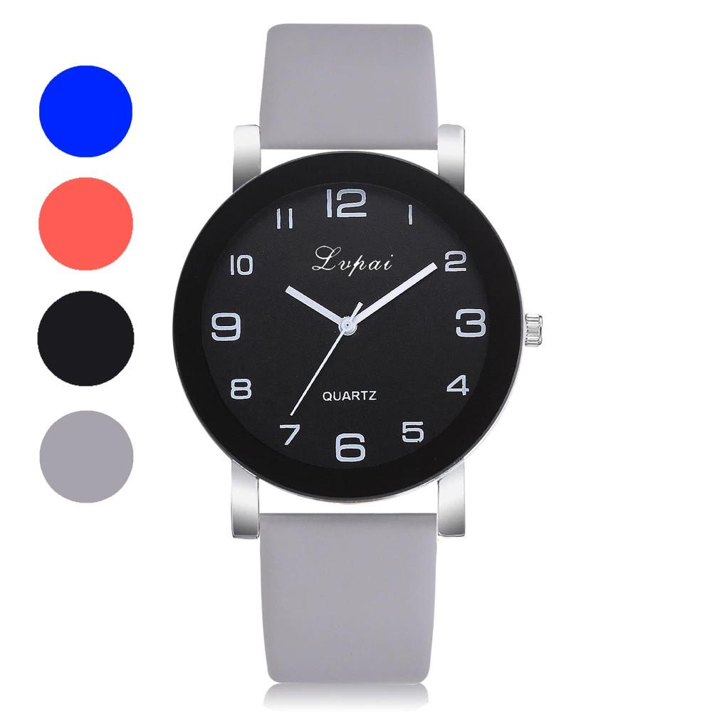 Модные женские наручные часы с большим циферблатом и серым ремешком | 80613-2