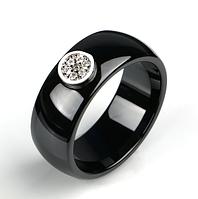 Керамическое черное кольцо с кристаллами код 1616