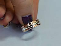 Обручальное кольцо из серебра с золотом, фото 1