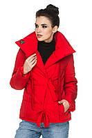 Демисезонная женская короткая куртка с отложным воротом на завязках 44-54 батал красная, фото 1