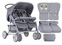 Детская коляска для двойни TWIN GREY CUTE KITTEN , Lorelli