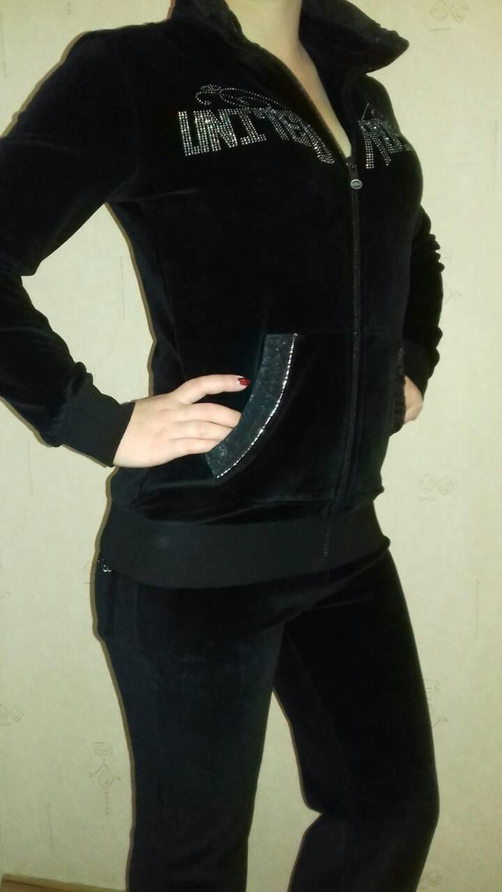 5cf835f4 ... Костюм спортивный женский велюровый черный, хлопок, фирма Billcee, ...
