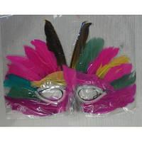 Маски карнавальные бумажные с перьями в ассортименте