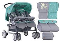 Детская коляска для двойни TWIN GREY&GREEN BUNNIES  , Lorelli