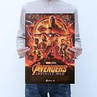 Постер афиша - Герои Марвел Мстители (Avengers) - 50х35 см на крафтовой бумаге (без рамы)