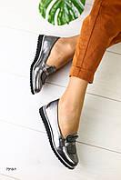 Туфли женские из натуральной кожибез каблука никель,StilnoShop